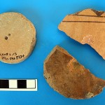 These artifacts, made from recycled pottery, provide evidence of textile manufacturing at the site during the Iron Age.