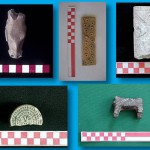 Among the items displayed here are some figurines and a cylinder seal.