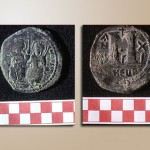 Struck at Antioch in the years 575-6, this follis (worth 40 nummia) depicts Justin II and Sophia.