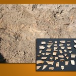 Many Late Bronze Age sherds were found squashed between layers in the East Step Trench.