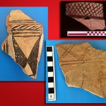 In addition to traditional geometric designs, the sherd at the bottom right may depict an animal.