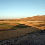 The setting sun casts a long shadow toward Çaltepe, the hill that may have been, to Hittites, holy Mt. Daha.