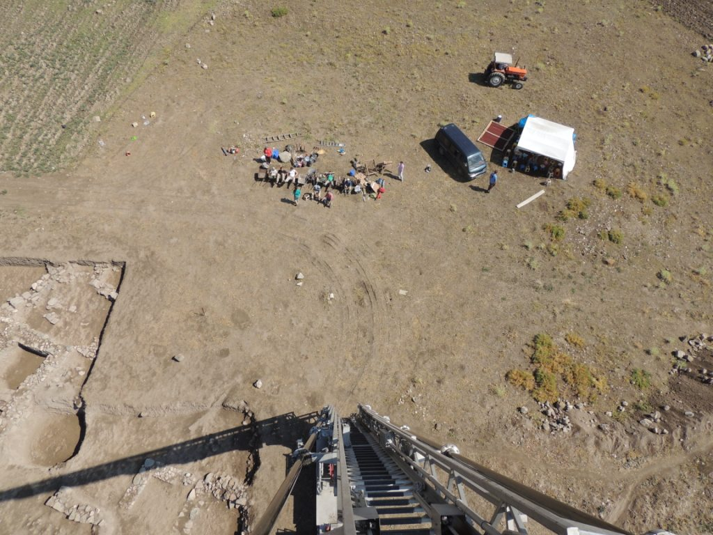 The fire truck came to the site again to give us a bird's eye view of the Terrace - and of lounging excavators!