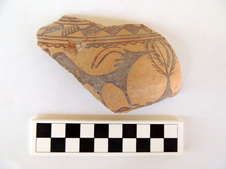 This piece of decorated pottery came from the Early Iron Age and may be an antelope-like predecessor to Phrygian stag ware designs.