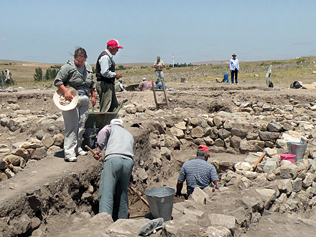 On Site Preparation  The season began with cleaning up two years of erosion and plant growth. The Terrace  Marica supervised opening two new trenches exploring the Byzantine settlement at the base of Çadır Höyük.